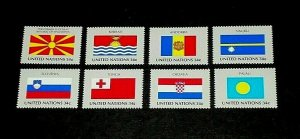 U.N. 2001, NEW YORK #795-802, FLAG SERIES, SINGLES, SET OF 8, MNH, NICE! LQQK!