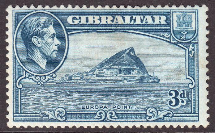 Gibraltar KGVI 1938 3d Light Blue SG125b Mounted Mint