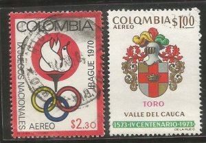 COLOMBIA  C528, C591  USED,  1970 AND 1973 ISSUE