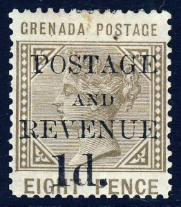 GRENADA QV 1891 POSTAGE & REVENUE 1d. Surcharge on 8d. Grey-Brown SG 46 MINT