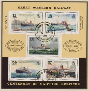Guernsey 1989 cancelled centenary ships sheet