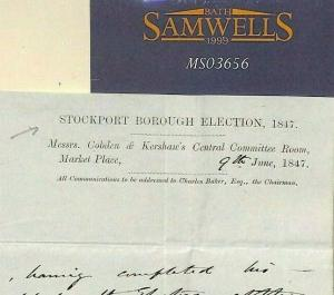 GB CHESHIRE *Stockport Borough Election*Historic Letter 1847 1d Red Cover MS3656