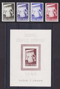 Turkey Sc 929-933 MNH. 1945 Census + S/S cplt