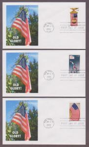 US # 3776 - 3780 on 5 FDCs with Empty Old Glory Booklet - I Combine S/H