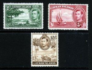 CAYMAN ISLANDS 1938-48 King George VI Highest Values SG 124a, 125 & 126 MINT