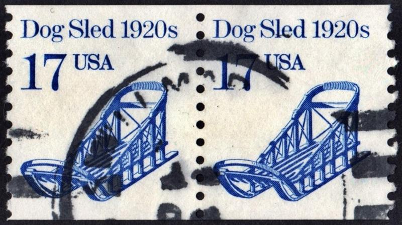 SC#2135 17¢ Dog Sled Coil Pair (1986) Used