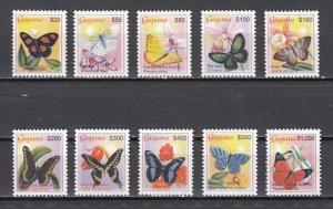 Guyana, Scott cat. 3780-3789 only. Butterfly Definitive values.  Cat. 39.90