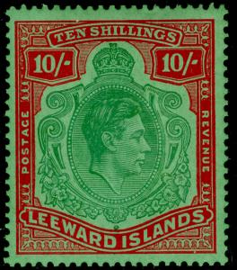 LEEWARD ISLANDS SG113b, 10s green & red/green, LH MINT. Cat £150.