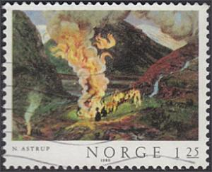 Norway # 768 used ~ 1.25k Painting - Fire
