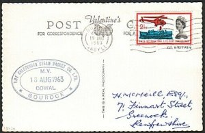 GB SCOTLAND CLYDE STEAMER 1963 postcard ex Dunoon MV COWAL cachet..........13920