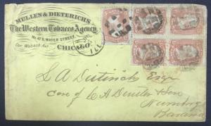 momen: US Stamps #65 Used Block of 4 & Single on Cover to Germany