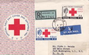 Hong Kong 1963 Scott 219-220 Registered Red Cross Centenary First Day Cover AIR