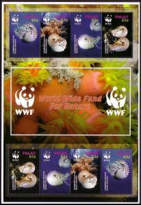 Palau WWF Chambered Nautilus Sheetlet of 2 sets SG#2153-2156 MI#2530-2533 SC#853