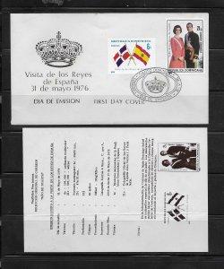DOMINICAN REPUBLIC STAMPS,COVER REYES DE ESPANA 1976 #F32