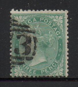 Jamaica Sc 9 1870 3d  green Victoria stamp used