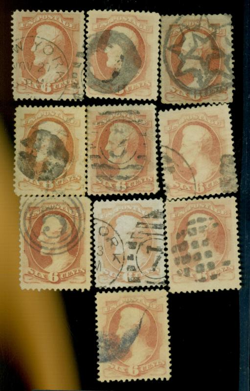 159 (10) Used F-VF Cpl Fancy Cancels Cat$200