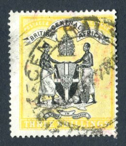 British Central Africa 1896. 3s black & yellow. Used. SG38.