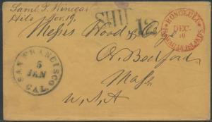 1855 HILO, HAWAII STAMPLESS SHIP COVER TO USA BLACK SHIP 12 EXT RARE WL8933