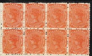 1889 - 1896 Australia Tasmania QV ½p perf 12 WmK 77 w/ Outline Tas MNH Sc# 66b