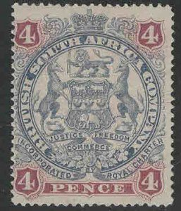 Rhodesia Scott 54 MH* Perf 16 coat of arms stamp CV$25