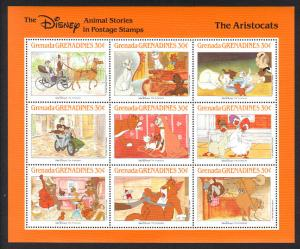 GRENADA -Disney THE ARISTOCATS ANIMAL -VF NH 9 Stamps