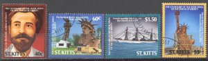 St. Kitts Sc# 193-196 SG# 215-218 Used 1986 Statue of Liberty