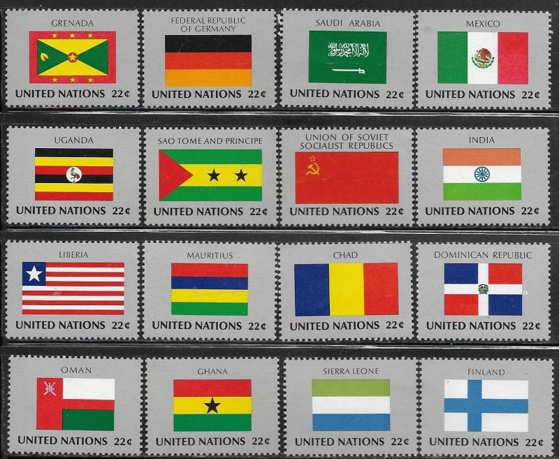 United Nations 1985 New York Flags of the Member Nations SC# 450-465 MNH