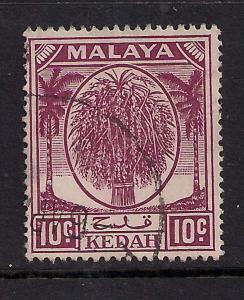 Malaya Kedah 1950 - 55 10ct Purple Used SG 82 ( 991 )