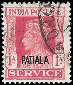 INDIA PATIALA  SC# O67  -  USED - NICE ALBUM SPACE FILLER