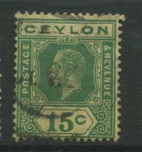 Ceylon #236a  Used  1921  Single 15c Stamp