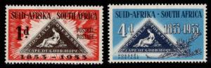 South Africa Scott 193-194 MH* 1953 stamp on stamp