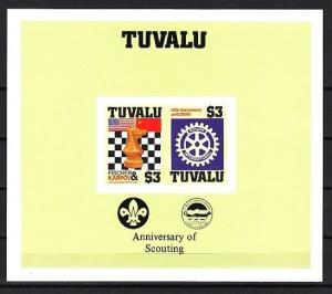 Tuvalu, Scott cat. 352. Chess and Rotary, IMPERF s/sht. Scout logo in design. ^