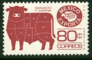 MEXICO Exporta 1113b 80¢ Cattle perf11 1/2 Unwmk Paper 4 MINT, NH. VF.