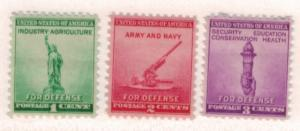 United States Scott #899 To 901, Mint, National Defense Issue From 1940 - Fre...