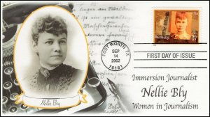 AO-3665, 2002, Women in Journalism, Nellie Bly,  FDC, Add-on Cachet, SC 3665