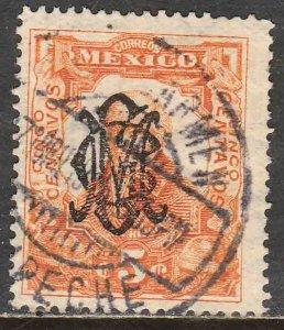 MEXICO 459, 5c VILLA MONOGRAM REVOLUT OVPERPRINT USED F-VF. (315)
