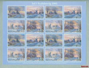 Denmark. Southslesvig Christmas Sheet 1993 Mnh. Windmill