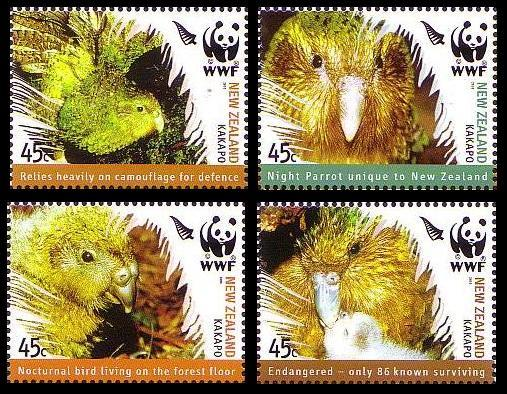 New Zealand MNH 2032-5 Kakapo Birds WWF 2005