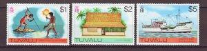 J22226 Jlstamps 1976 tuvalu hv,s of set mnh #35-37, 1$ to 5$ values