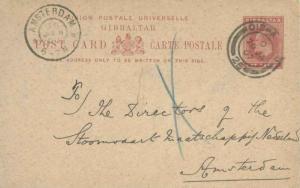 Gibraltar 1d KEVII Postal Card 1907 Gibraltar, 26 to Amsterdam, Netherlands.