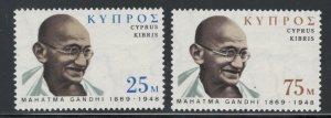 Cyprus 1970 Mahatma Gandhi Scott # 338 - 339 MNH