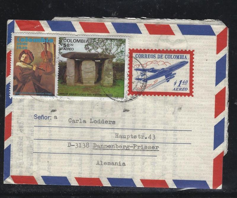 COLOMBIA  (PP0308B) 1.40 AIRPLANE AEROGRAMME UPRATED 8.00+6.00 TO GERMANY