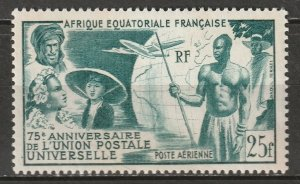 French Equatorial Africa 1949 Sc C34 air post MLH* some disturbed gum