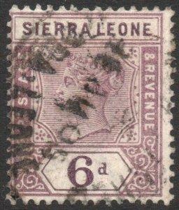 SIERRA LEONE-1897 6d Dull Mauve Sg 49 GOOD USED V42947