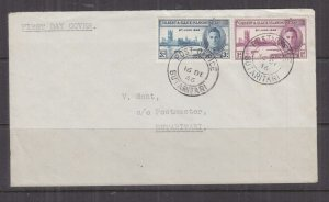 GILBERT & ELLICE ISLANDS, BUTARITARI cds., 1946 Victory pair on fdc., local.