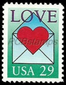US #2618 29c LOVE, 1992, MNH, (PCB-1)