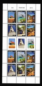 Aruba  #471  MNH  2015  sheet  with 2 blocks of 6  Tourist attractions