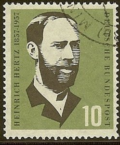 Stamp Germany Sc 0762 1957 Bundespost Heinrich Hertz Physicist Birth Used