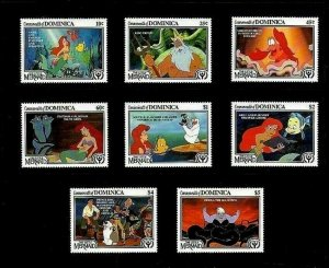 DOMINICA - 1991 - DISNEY - LITTLE MERMAID - ARIEL - ERIC - ILY - MINT MNH SET!