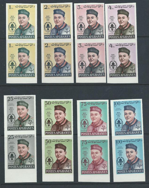 Afghanistan 623-6, C32-5 Scouts imperf,VF MNH pairs . 2018 CV $55.00